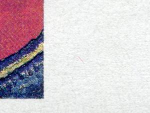 1843 Pechstein - 10er-Bogen mit PLF roter Strich rechts vom Bild, Feld 7, **