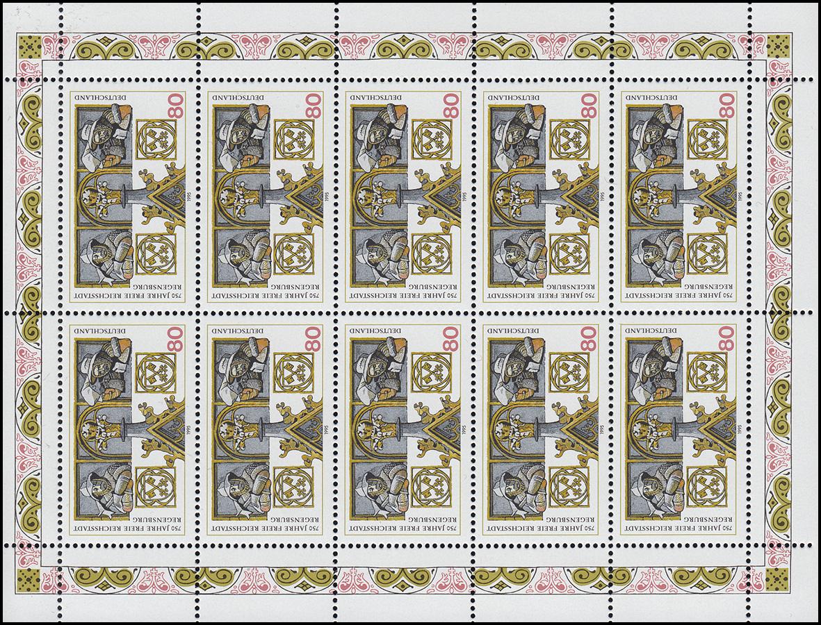 1786 Regensburg - 10er-Bogen mit 2 PLF auf Feld 1 und 6, ** 2