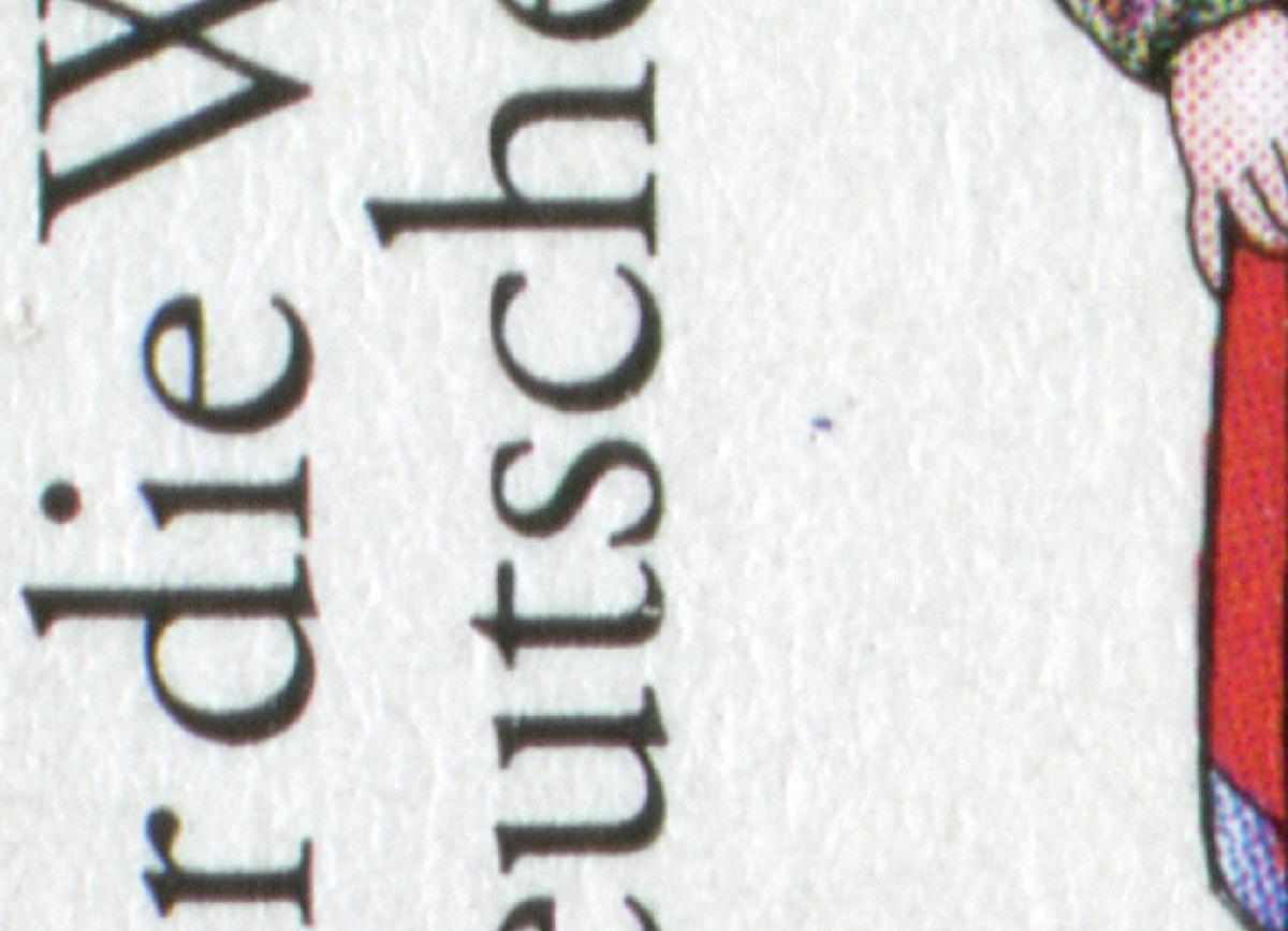 1759 Wohlfahrt Trachten Minden - 10er-Bogen mit PLF Punkt unter sc, Feld 10 ** 0