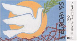 Griechenland Markenheftchen 18 Europa 1995, ** postfrisch