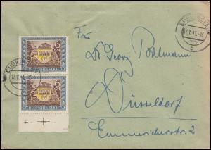 828 Tag der Briefmarke senkr. UR-Paar mit Passerkreuz Brief EUSKIRCHEN 17.1.43