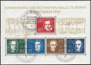 Block 2 Beethovenhalle 1959, SSt Bonn 15.9.59, Vereidigung, gepr. SCHLEGEL BPP