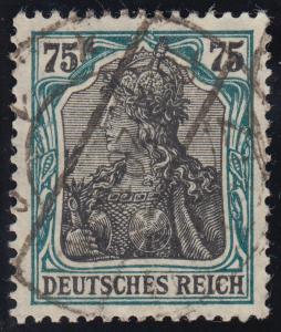 104d (ehemals 104bF) Germania 75 Pf Rahmen bläulichgrün gestempelt gp. INFLA+BPP