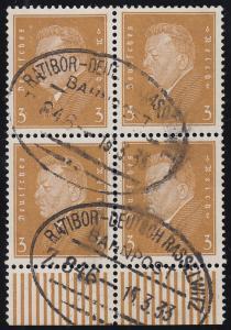 410 Ebert als UR-Viererblock mit BAHNPOST RATIBOR - DEUTSCH RASSELWITZ 15.3.33
