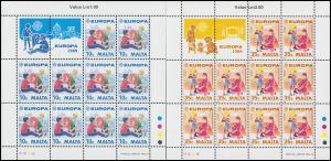 Malta 816-817 Europa Kinderspiele / Kinderspielzeug, Kleinbogen-Satz **
