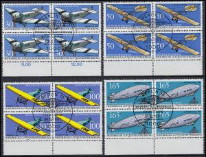 1522-1525 Luftpostbeförderung Unterrand-Viererblock-Satz mit ESSt Berlin