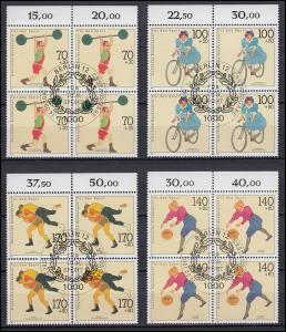 1499-1501 Sporthilfe Oberrand-Viererblock-Satz mit ESSt Berlin und mit PLF 1500I