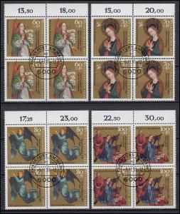 1578-1581 Weihnachten als Oberrand-Viererblock-Satz VS-Ersttagsstempel Frankfurt