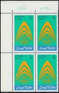 Spendenmarke I Junge Welt / Olympia von 1971 ** im Eckrand-Viererblock o. links