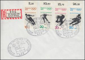 680-683 Olympia, Sonder-R-Zettel Briefmarkenausstelung SSt DISNLAKEN 4.6.71