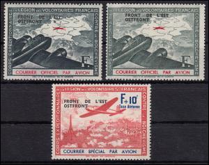 Frankreich IVa / IVb / V Flugzeug 1942 OSTFRONT, Satz 3 Werte ** postfrisch