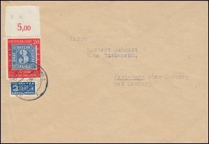 114II Briefmarke 20 Pf OR mit Teil-BZN und PLF II als EF Brief FRANKFURT 24.6.50