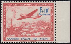 Frankreich III/IV Flugzeug über Frankreich - PLF IV verkürztes N, ** postfrisch