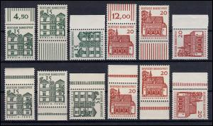 455/456 Bauwerke Set Walzendruck / Plattendruck je Ober-, Unter-, Seitenrand **