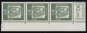 350y Br Dürer 10 Pf als Eckrand-Dreierstreifen mit Randvermerk F und DZ 5, **