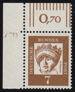 348y Br Hl. Elisabeth 7 Pf als Eckrandstück oben links mit Druckvermerk F, **