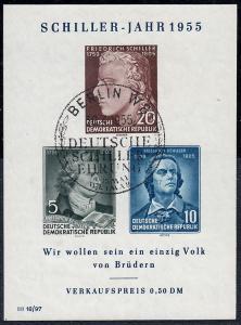 Block 12 X I Schiller-Jahr 1955 mit PLF X: Serife des W verlängert, ESSt Berlin