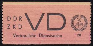 Dienst D 1A  Vertrauliche Dienstsache - seltene Farbvariante lachsrot, **