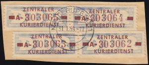 20-AI ZKD-Dienstpost 10 Pf: vierfach auf Briefstück MAGDEBURG SO 11 - 31.1.59