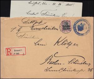 Belgien 5 Germania mit Aufdruck R-Brief WASSERBAU-KOMP. 41 von Brüssel 21.12.15