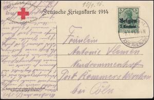 Belgien 2 Germania auf Rotes Kreuz - AK Kaiser Wilhelm Feldpostamt 9.1.15