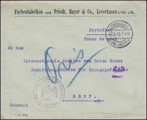 Zensur Überwachungsstelle des XVIII. AK Frankfurt/M. Brief LEVERKUSEN 27.2.15