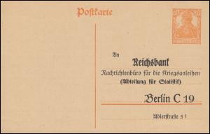Postkarte P 110I Zudruck Reichsbank Berlin Kriegsanleihen, ungebraucht