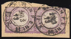 1 Brustschild 1/4 Groschen als senkrechtes Paar auf Briefstück BERLIN 20.3.73