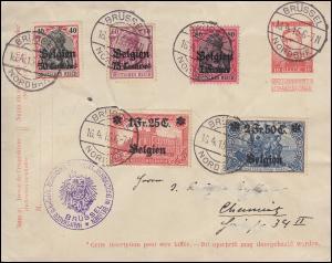 Belgien 5-9 Germania / Darstellungen: 5 Werte auf belgischer GA BRÜSSEL 16.4.15