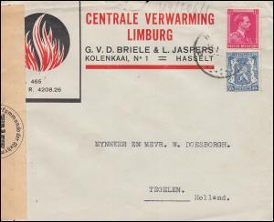 Belgien Zensur-Brief HASSELT 13.1.1944 mit 422+581 Wappen-Leopold-MiF n. Tegelen