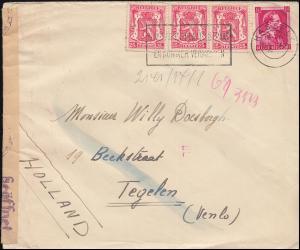 Belgien Zensur-Brief von HASSELT 28.12.(41?) 419 Wappen-Leopold-MiF n. Tegelen