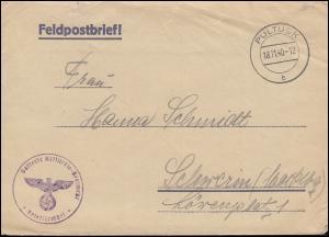 Feldpost 32241 Batterie Artillerie-Regiment Brief PULTUSK 18.11.40 nach Schwerin