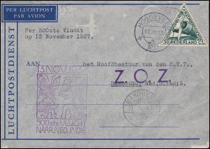 Flugpost 500. Flug NL nach Bandoeng NL-Indien am 13.11.1937 Brief und zurück