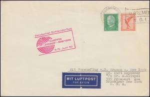 Katapultpost S.S. BREMEN - NEW YORK 4./5.32, Seepost - Hab.83b