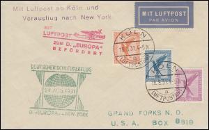 Katapultpost S.S. EUROPA - NEW YORK 24.8.1931 mit Luftpost zum Dampfer, Hab. 65a
