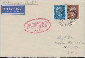Katapultpost S.S. BREMEN - NEW YORK 19.8.1931, Seepost - Haberer 64b