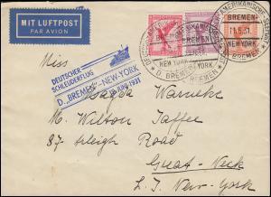 Katapultpost S.S. BREMEN - NEW YORK 18.6.1931, mit Seepost 11.6.31