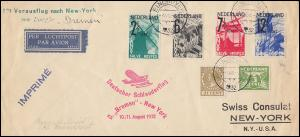 Katapultpost S.S. BREMEN - NEW YORK 10./11.8.1932, Zuleitung NL - Hab. 99NL