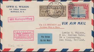 Katapultpost Katapultflug Dampfer BREMEN AMSTERDAM-BREMERHAV.15.6.1930, Hab. 15b