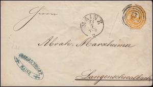 Thurn und Taxis Umschlag 2 Kr gelb Nummern-O 134 MAINZ 22.7. n. Langenschalbach