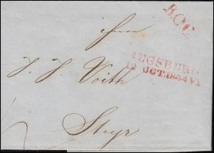Bayern Vorphilatelie Brief L2 AUGSBURG 7.10.1844 VI nach L2 STEYR 14.10.