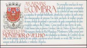 Portugal-Markenheftchen 1700 BuS Kastell Montemor-o-Velho, ESSt 18.9.86