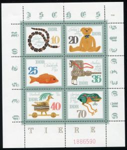 2661-2666 Speilzeug-Kleinbogen oben und links ndgz. - mit Schnittmarkierung **