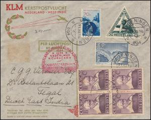KLM-Luftpost NL-Suriname-Curacao Snip 15.12.34 von WAGENINGEN 11.12. und zurück