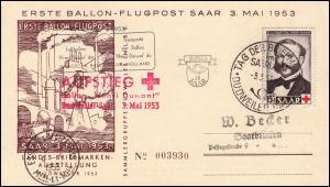 Erste Ballon-Flugpost Saar 3. Mai 1953 Rotes Kreuz Ballon Henri Dunant Karte SSt