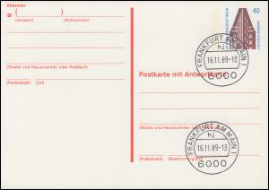 P 132 - SWK 40/40 Pf Leuchtbalken dicht am Werteindruck, VS-O Frankfurt/Main