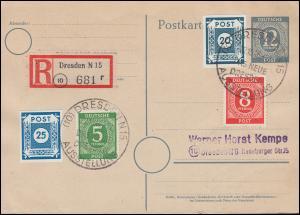 48Ac Ziffern 20 Pf auf R-Postkarte SSt Dresden 22.10.1946, geprüft Zierer BPP