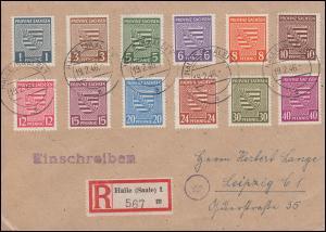 73-84 Provinzwappen komplett auf R-Brief HALLE/SAALE 19.2.46 nach Leipzig 22.2.