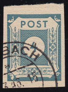 53aIII Ziffern 4 Pf. mit PLF III weißer Keil im Unterrand, Feld 6, gestempelt