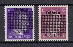 Döbeln 1a und 1b Aufdrucke Rechteck und 6.5.1945 - beide postfrisch **